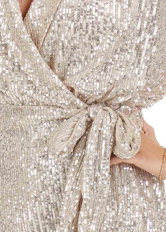Champagne Sequined Wrap Romper with Front Tie Detail detail