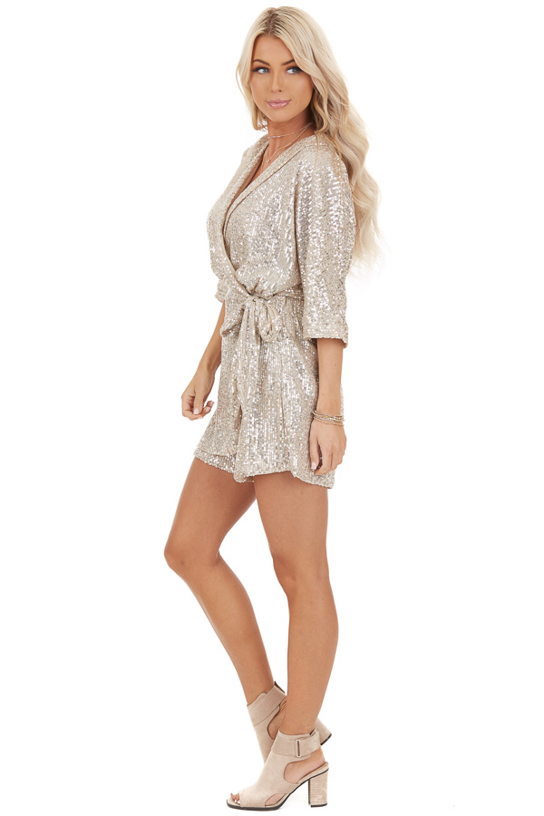 Champagne Sequined Wrap Romper with Front Tie Detail side full body