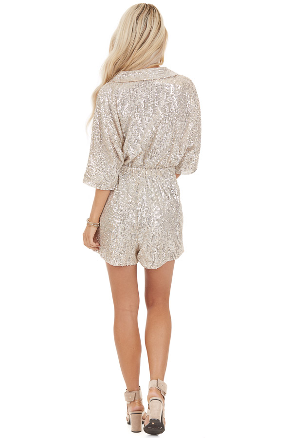 Champagne Sequined Wrap Romper with Front Tie Detail back full body