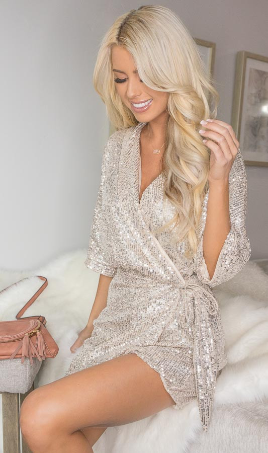 Champagne Sequined Wrap Romper with Front Tie Detail
