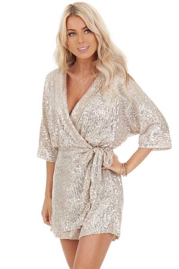 Champagne Sequined Wrap Romper with Front Tie Detail front close up