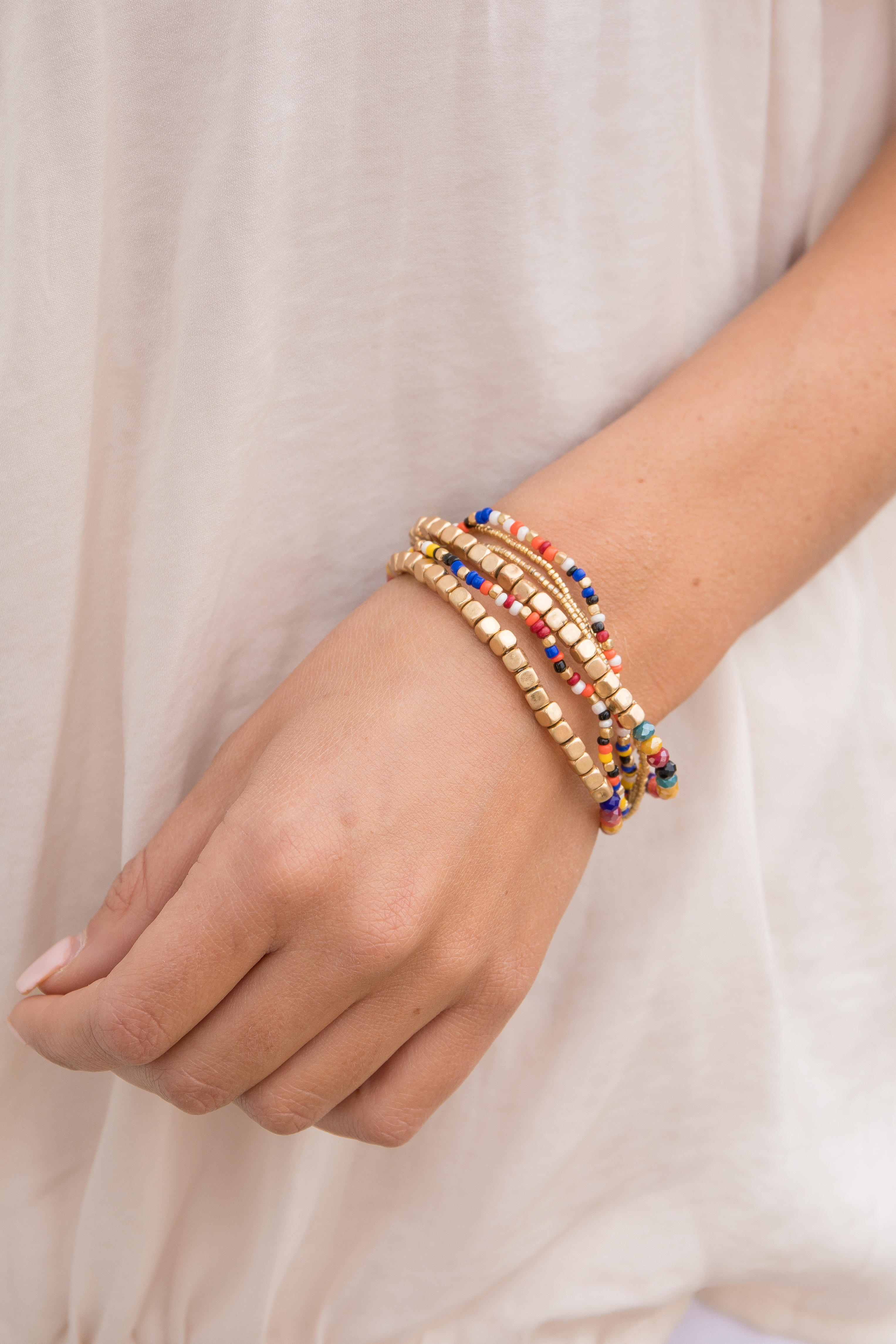 Multi Color Beaded Stretchy Stacked Bracelet Set