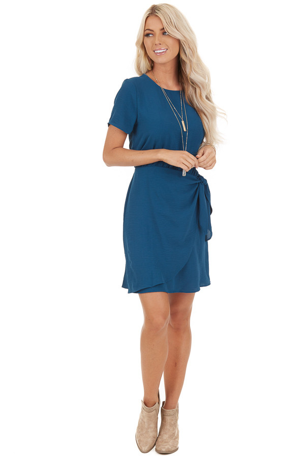 Teal Short Sleeve Mini Dress with Front Tie and Keyhole Back front full body