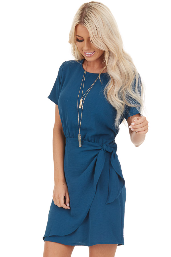 Teal Short Sleeve Mini Dress with Front Tie and Keyhole Back front close up