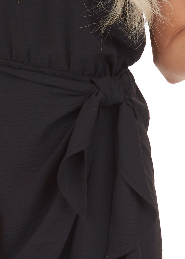 Black Short Sleeve Dress with Front Tie and Keyhole Back detail