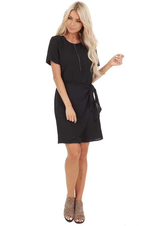 Black Short Sleeve Dress with Front Tie and Keyhole Back front full body