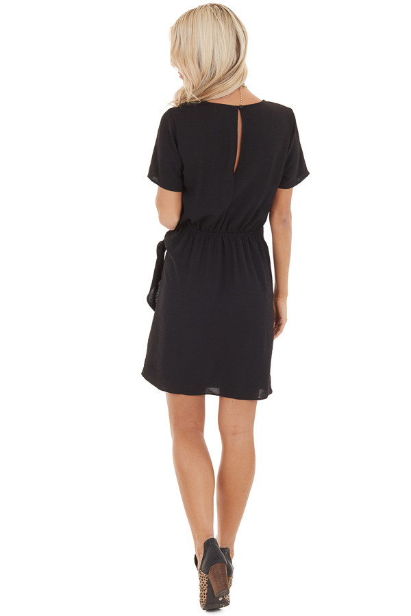 Black Short Sleeve Dress with Front Tie and Keyhole Back back full body