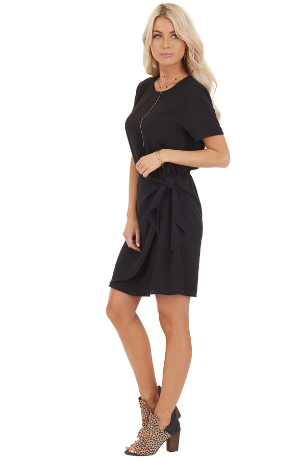 Black Short Sleeve Dress with Front Tie and Keyhole Back side full body