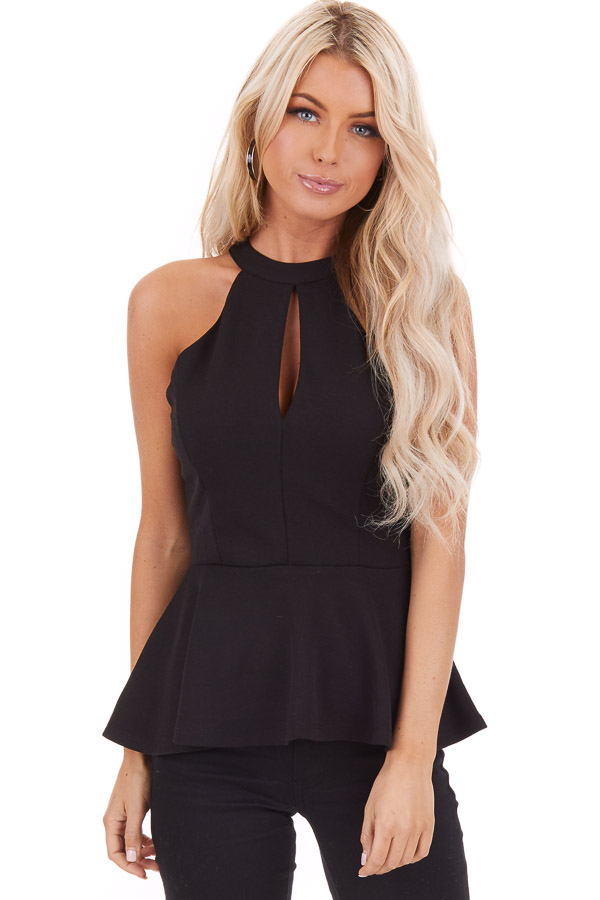 Black Peplum Top with Caged Back Detail and Keyhole Cutout front close up