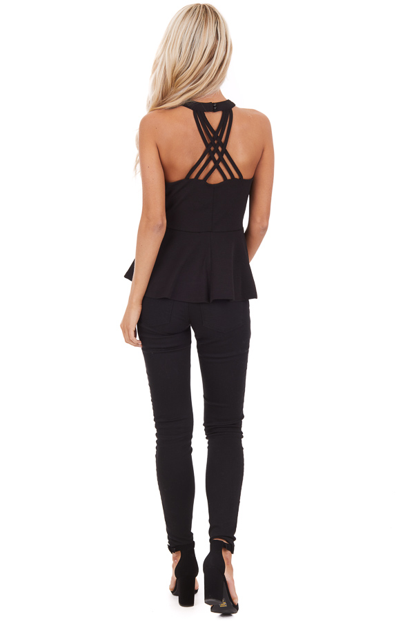 Black Peplum Top with Caged Back Detail and Keyhole Cutout back full front body
