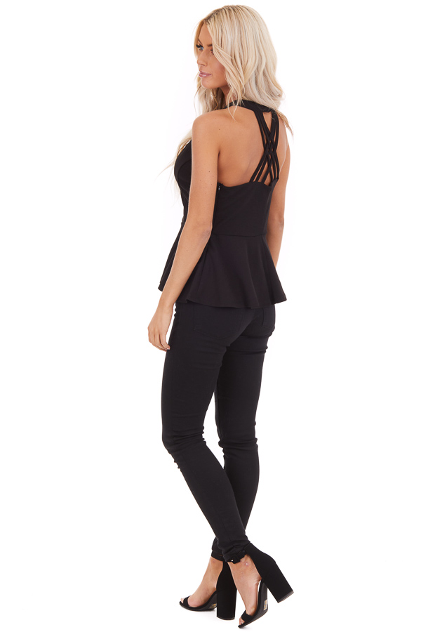 Black Peplum Top with Caged Back Detail and Keyhole Cutout side full front body