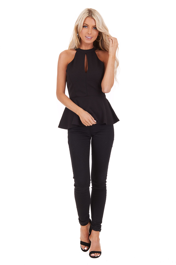 Black Peplum Top with Caged Back Detail and Keyhole Cutout front full front body