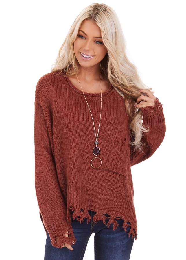 Rust Cropped Knit Sweater with Distressed Details and Pocket front close up