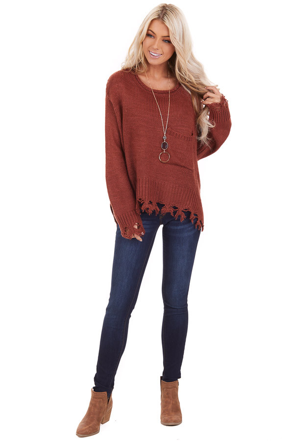 Rust Cropped Knit Sweater with Distressed Details and Pocket front full body