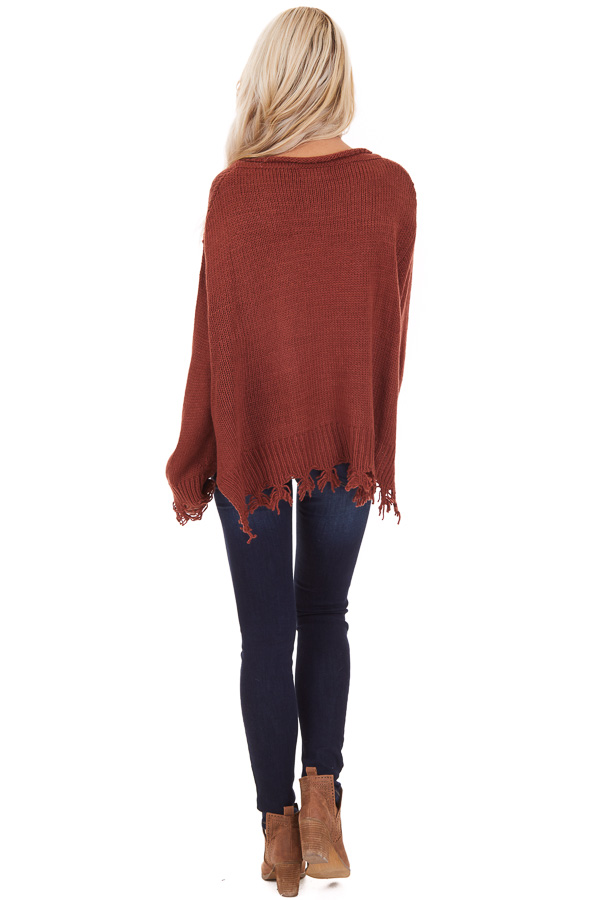 Rust Cropped Knit Sweater with Distressed Details and Pocket back full body
