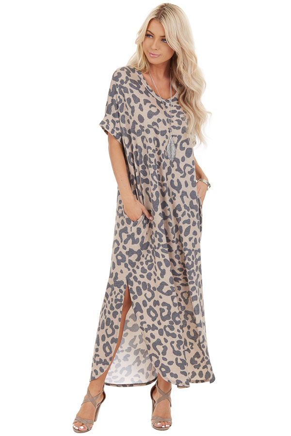 Taupe Leopard Print Short Sleeve Maxi Dress with V Neckline front full body