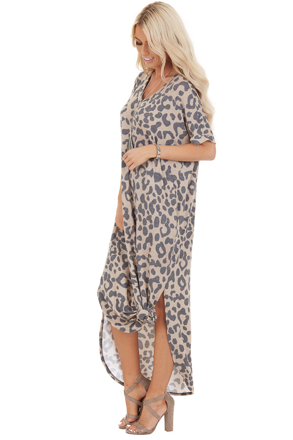 Taupe Leopard Print Short Sleeve Maxi Dress with V Neckline side full body