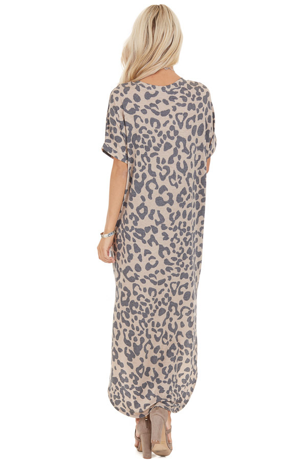 Taupe Leopard Print Short Sleeve Maxi Dress with V Neckline back full body