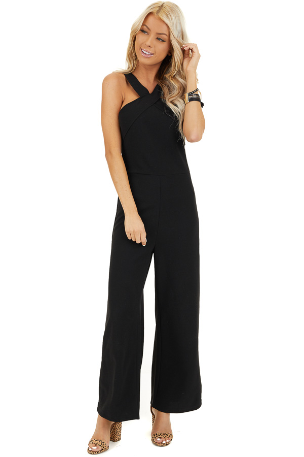 Black Sleeveless Jumpsuit with Criss Cross Neckline front full body