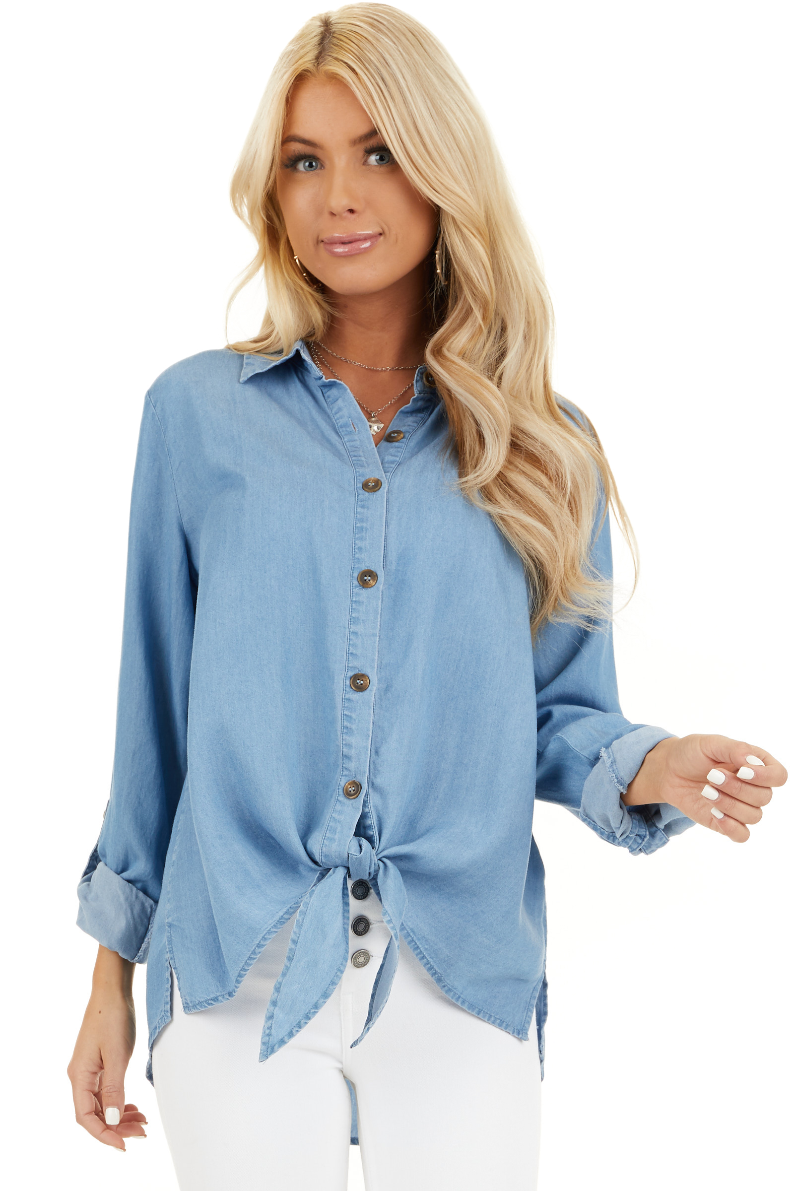 Medium Wash Chambray Button Up Top with Front Tie Detail closeup