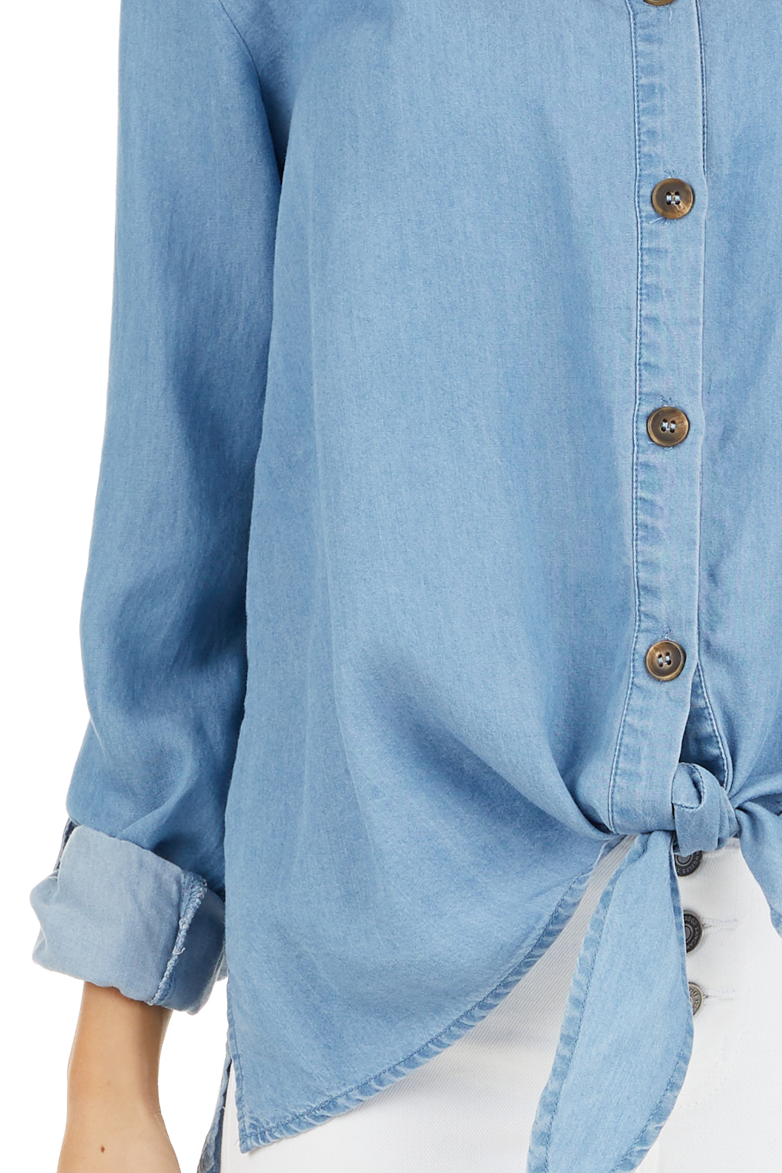 Medium Wash Chambray Button Up Top with Front Tie Detail detail