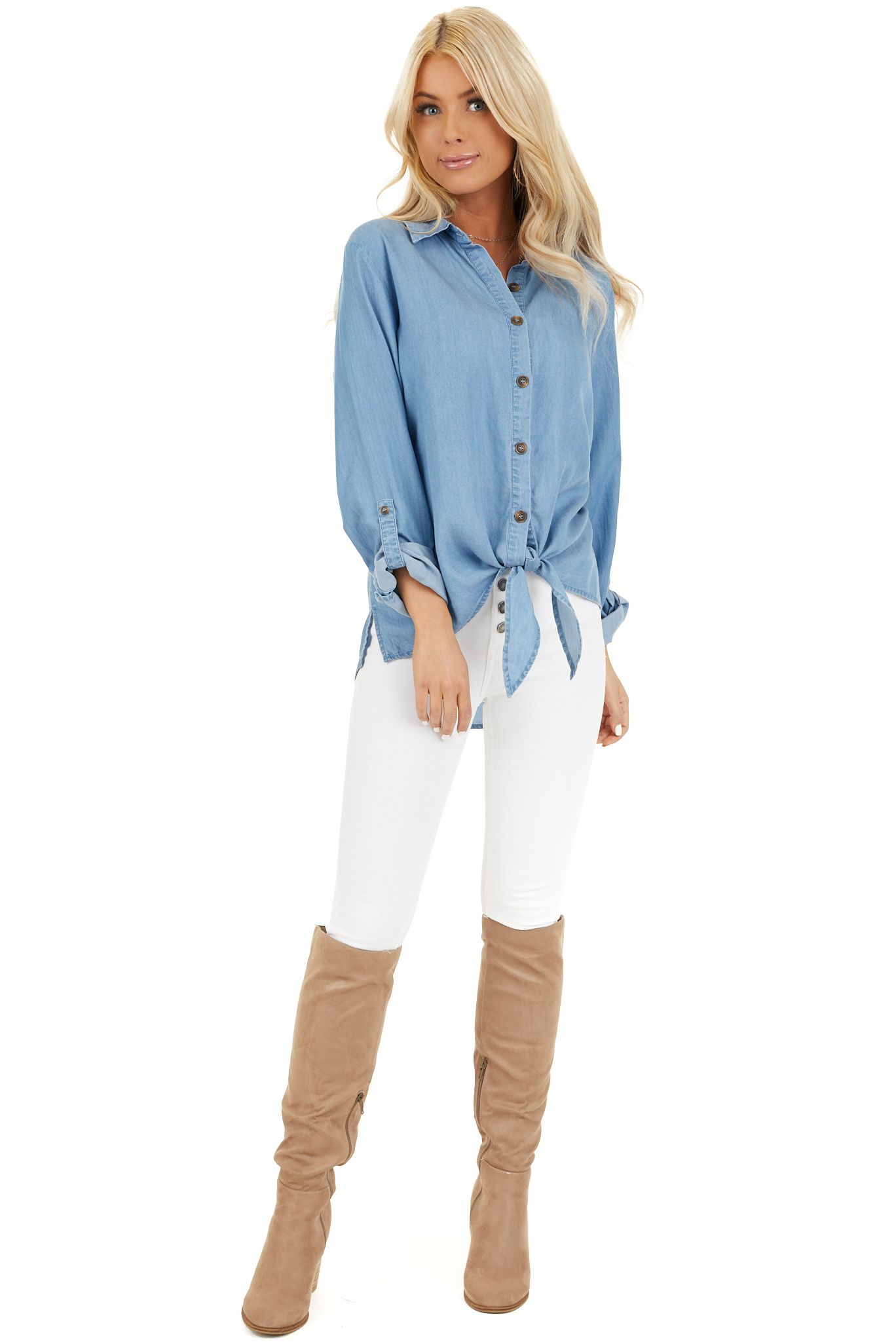 Medium Wash Chambray Button Up Top with Front Tie Detail front full body