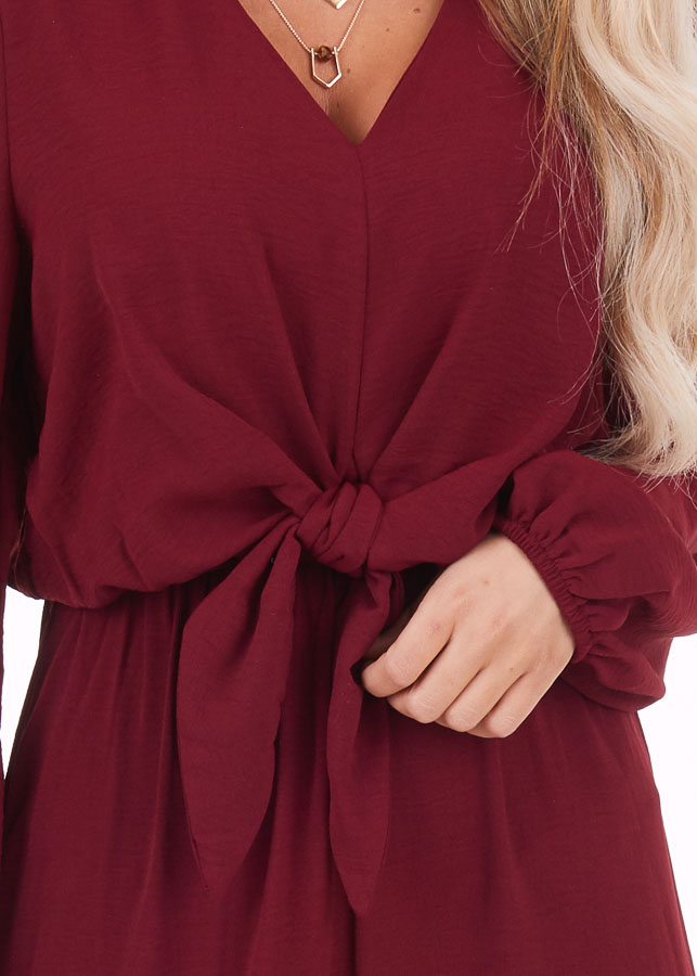 Wine Jumpsuit with Front Tie and Back Keyhole Button Closure detail