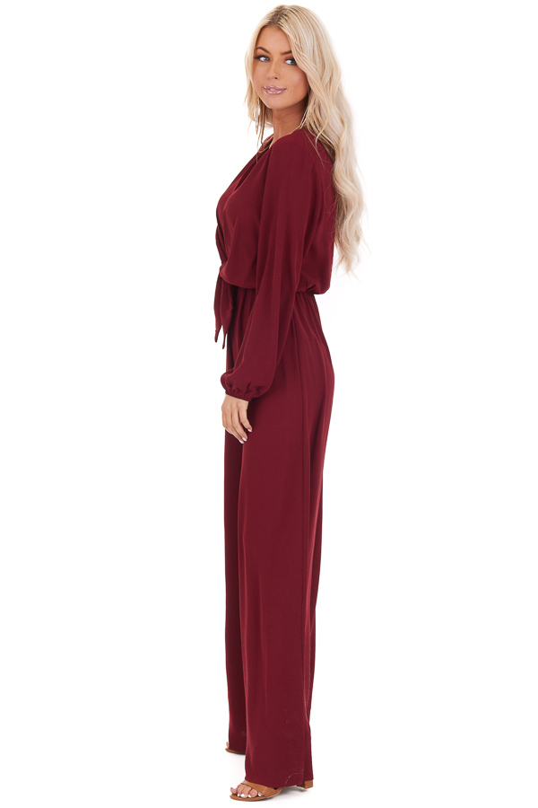 Wine Jumpsuit with Front Tie and Back Keyhole Button Closure side full body