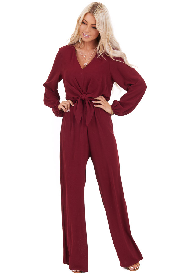 Wine Jumpsuit with Front Tie and Back Keyhole Button Closure front full body