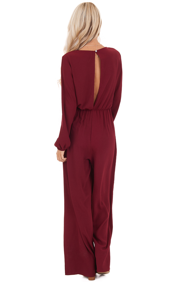 Wine Jumpsuit with Front Tie and Back Keyhole Button Closure back full body