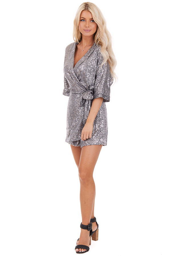 Silver Sequined Wrap Romper with Front Tie Detail front full body
