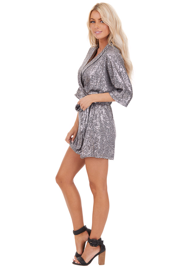 Silver Sequined Wrap Romper with Front Tie Detail side full body