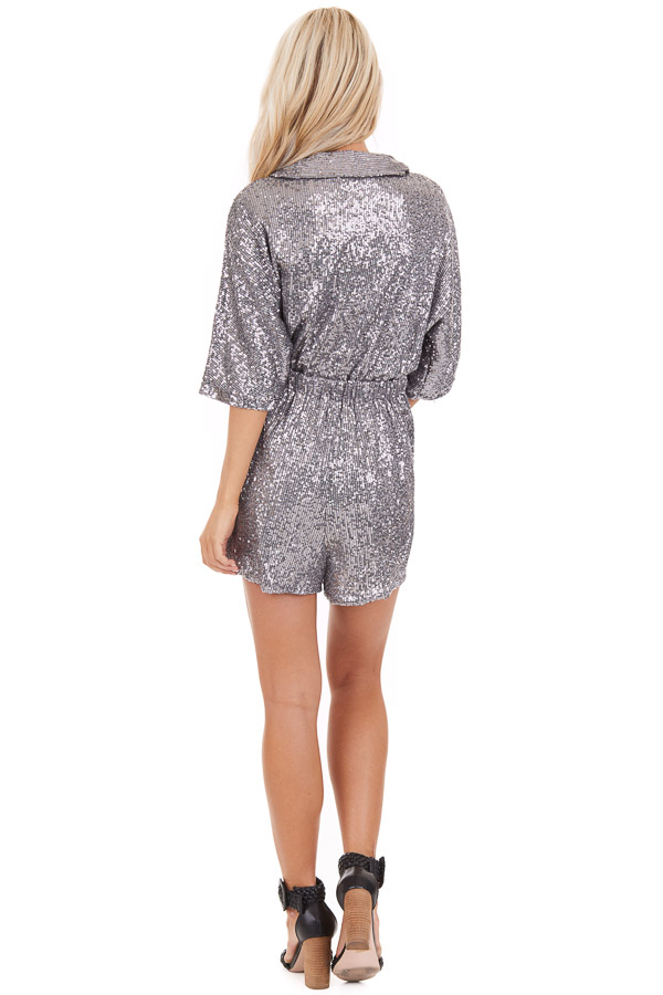 Silver Sequined Wrap Romper with Front Tie Detail back full body