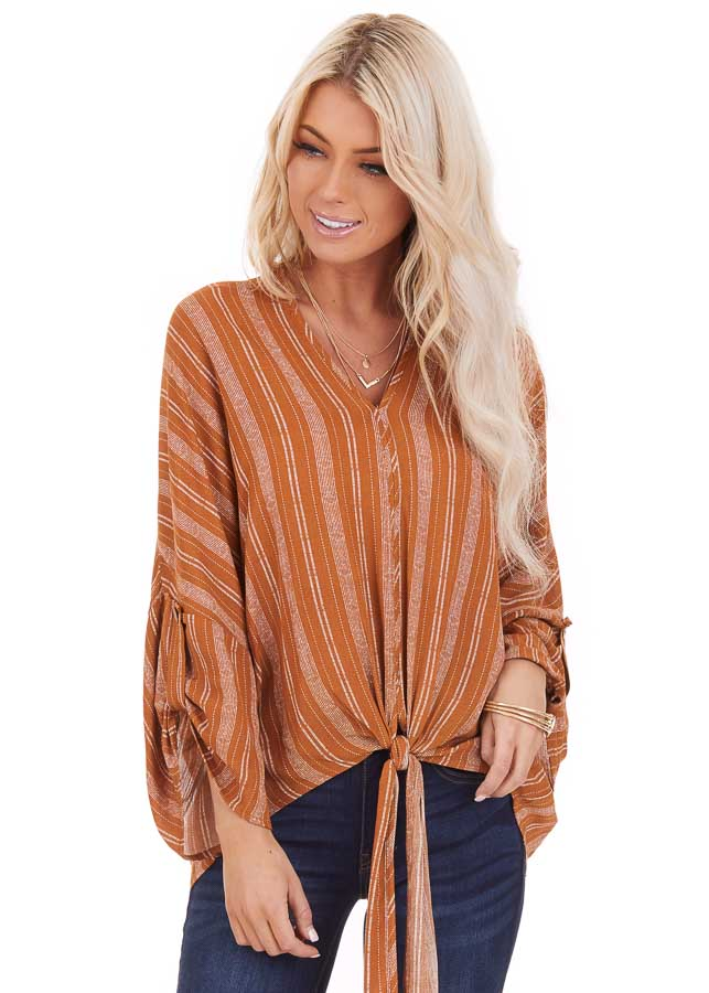 Caramel Striped Print V Neck Top with Front Tie Detail front close up
