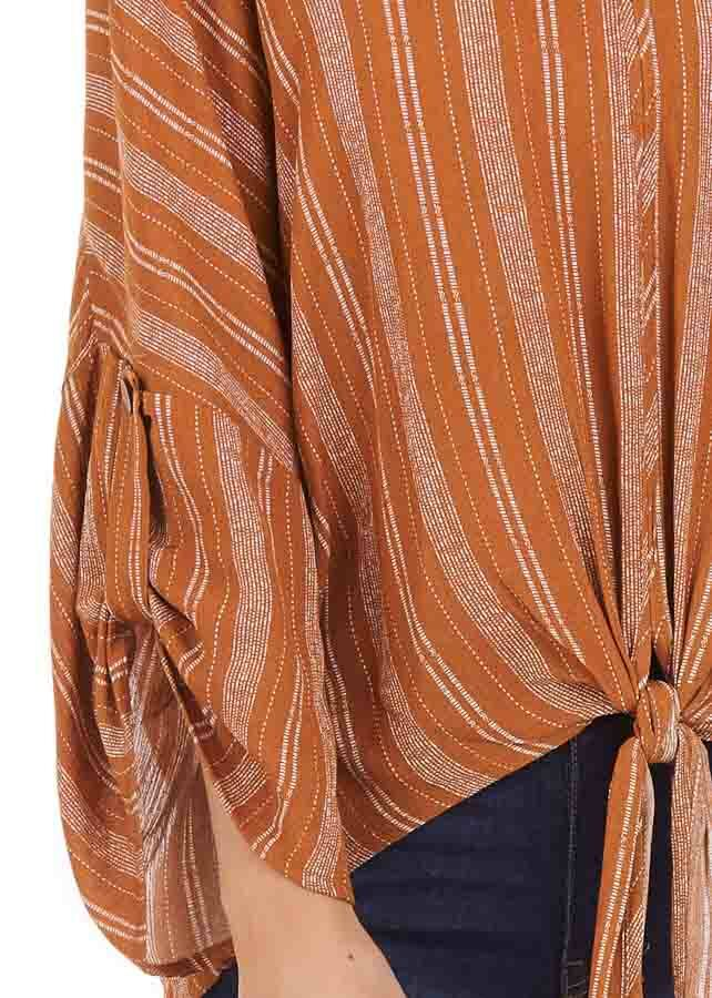 Caramel Striped Print V Neck Top with Front Tie Detail back full body