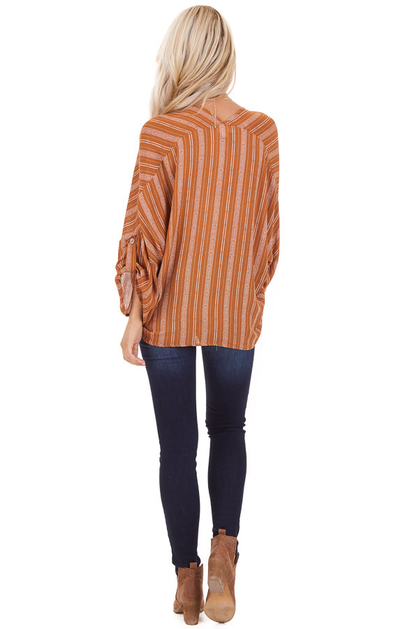 Caramel Striped Print V Neck Top with Front Tie Detail side full body