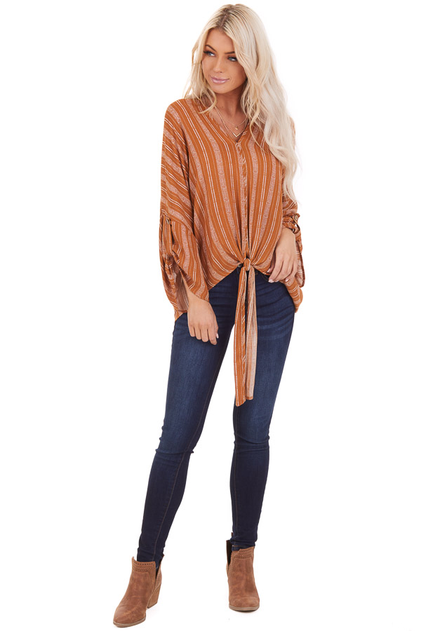 Caramel Striped Print V Neck Top with Front Tie Detail front full body