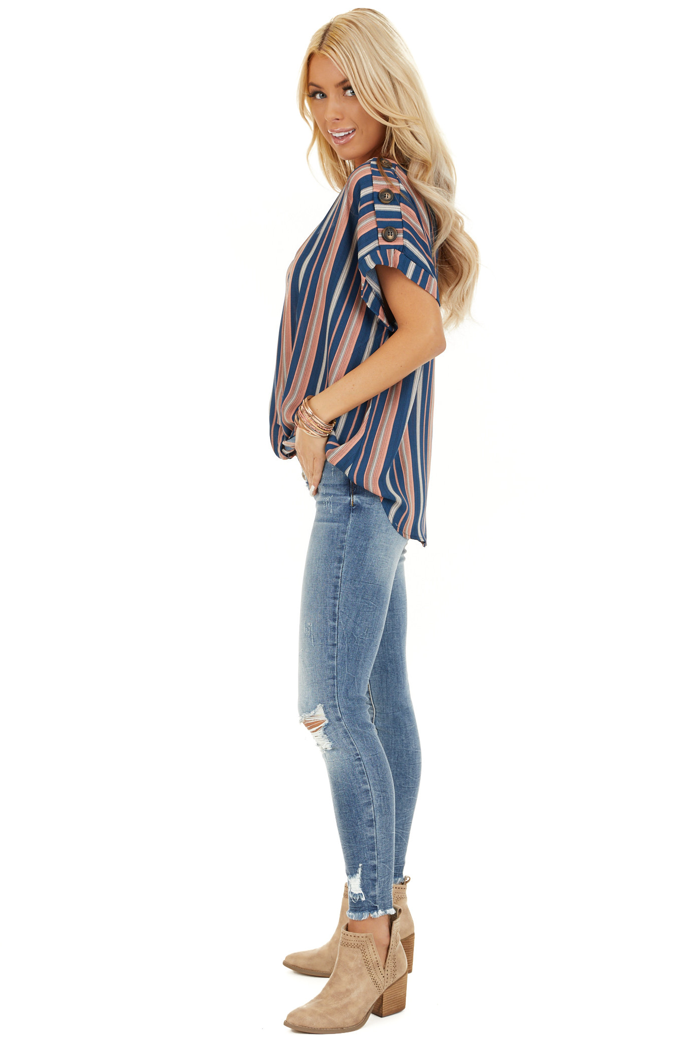 Navy and Rose Striped Print Top with Button Details side full body