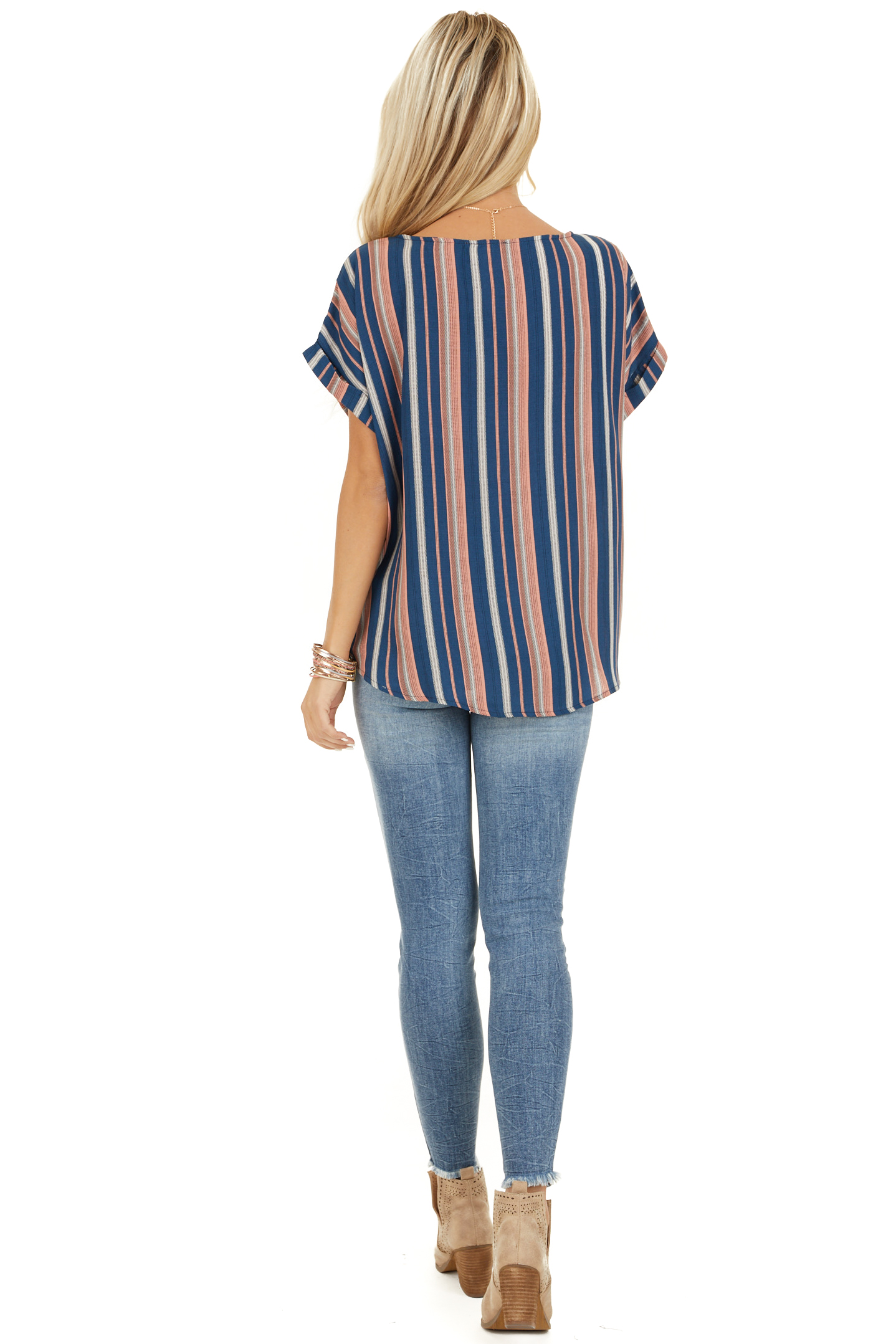 Navy and Rose Striped Print Top with Button Details back full body