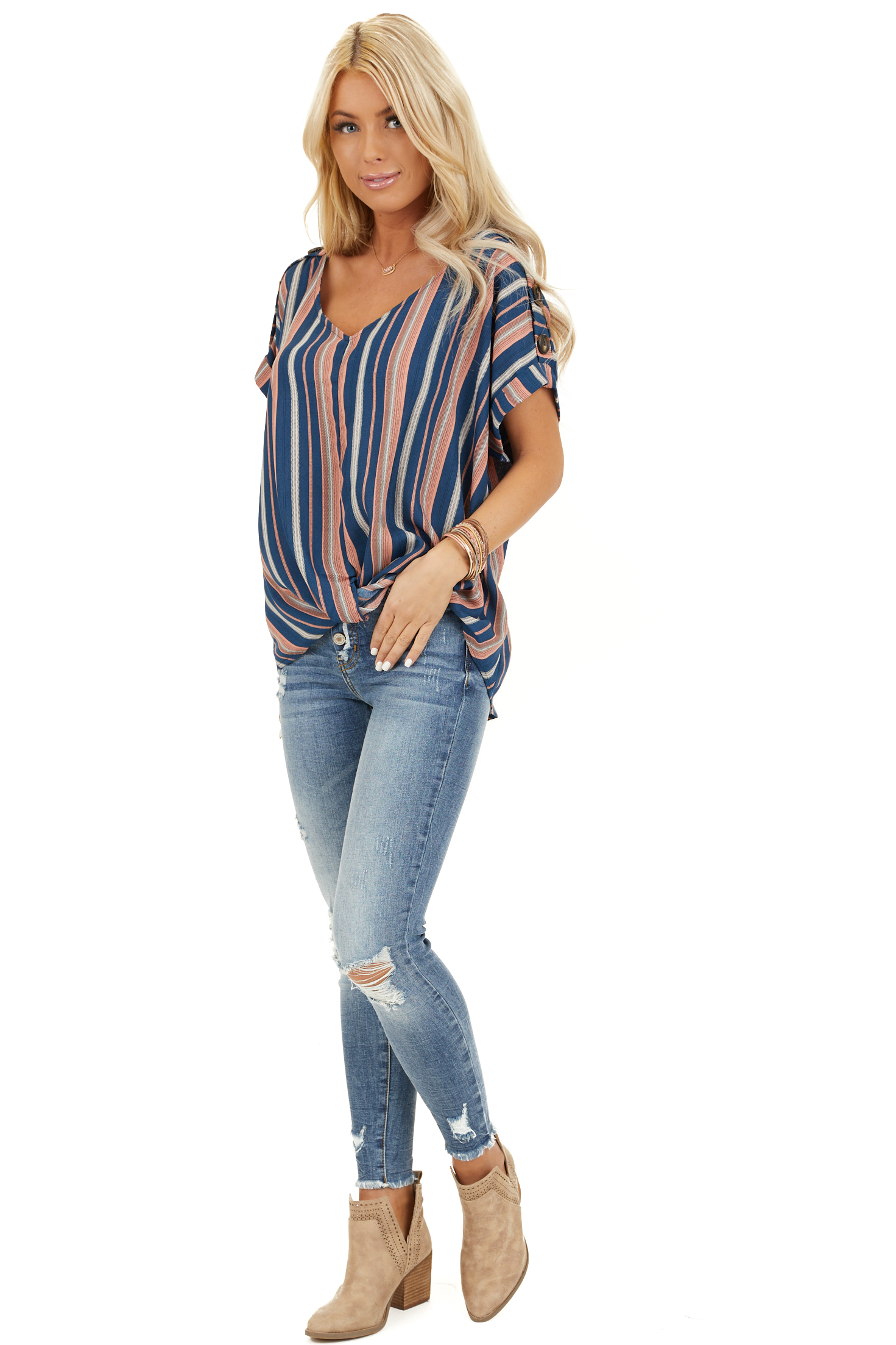 Navy and Rose Striped Print Top with Button Details front full body