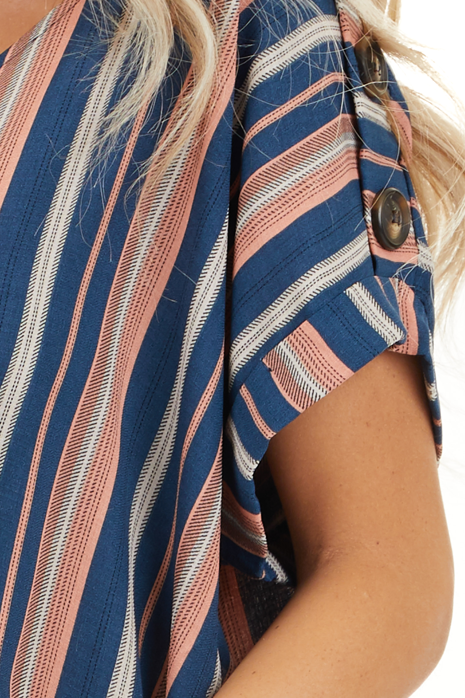Navy and Rose Striped Print Top with Button Details detail