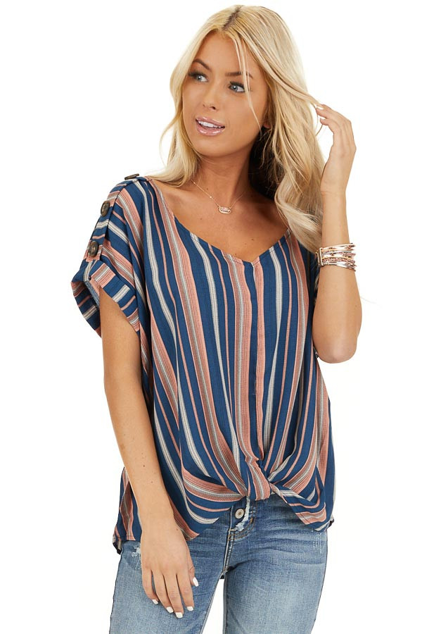 Navy and Rose Striped Print Top with Button Details closeup
