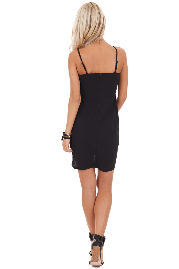 Black Bodycon Spaghetti Strap Mini Dress with V Neckline back full body
