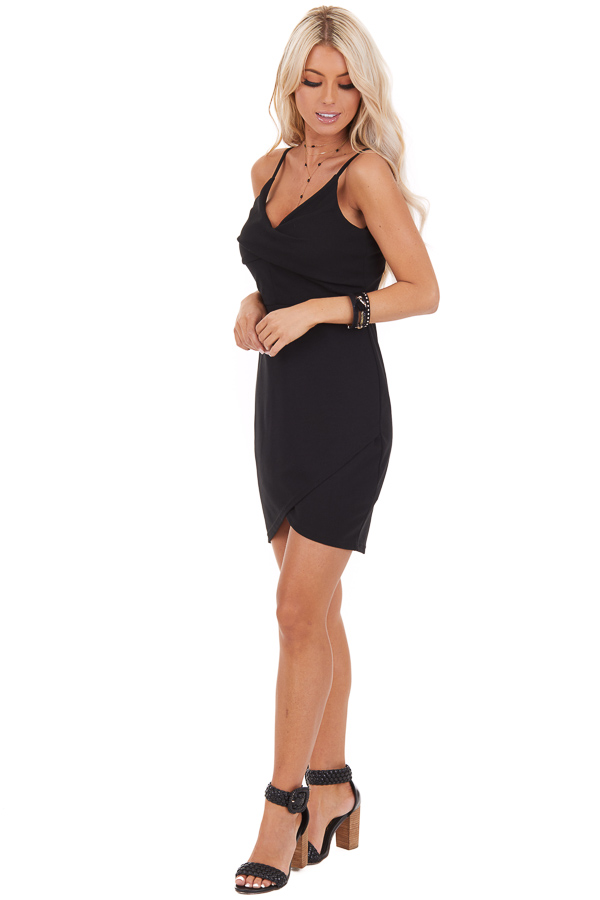 Black Bodycon Spaghetti Strap Mini Dress with V Neckline front full body