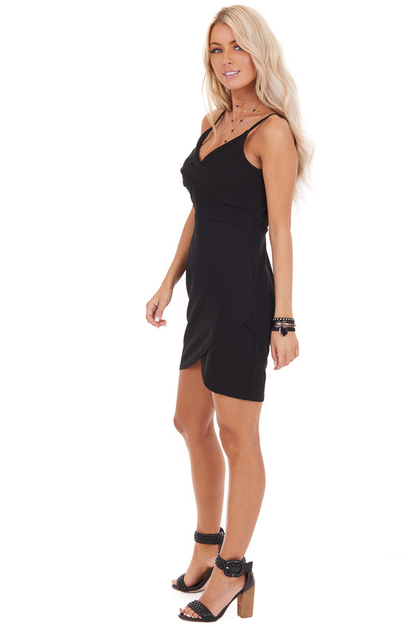 Black Bodycon Spaghetti Strap Mini Dress with V Neckline side full body