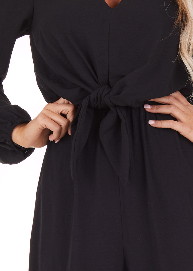 Black Jumpsuit with Front Tie and Back Keyhole Closure detail