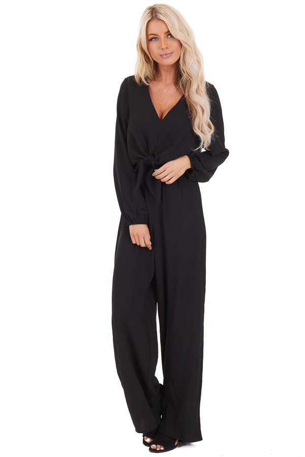 Black Jumpsuit with Front Tie and Back Keyhole Closure front full body