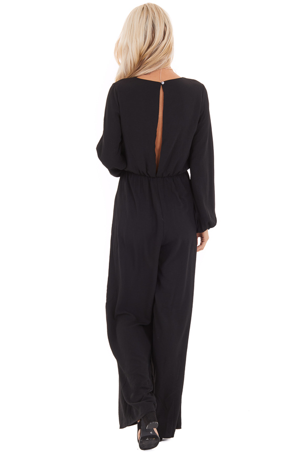 Black Jumpsuit with Front Tie and Back Keyhole Closure back full body