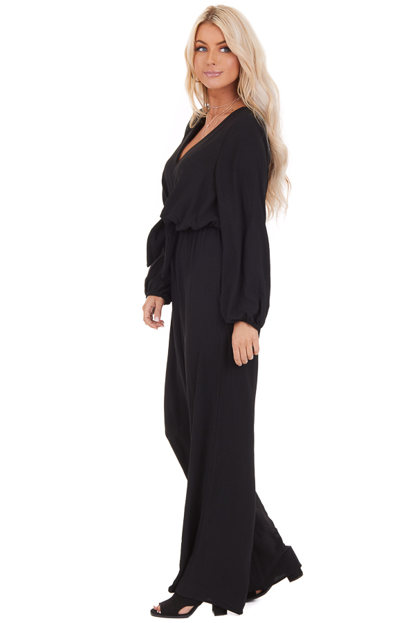 Black Jumpsuit with Front Tie and Back Keyhole Closure side full body