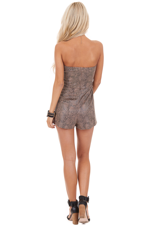 Mocha Snakeskin Faux Leather Sleeveless Romper with Pockets back full body